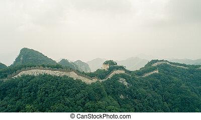 aerial udsigt, i, den, great mur, ind, kina