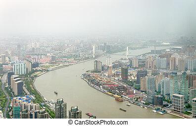 aerial udsigt, i, den, huangpu, flod, ind, shanghai
