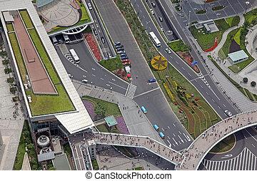 aerial udsigt, i, den, korsveje, ind, shanghai, kina