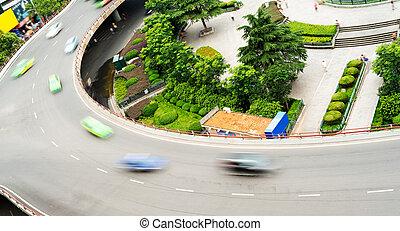 aerial udsigt, i, den, stak, interchange, ind, shanghai