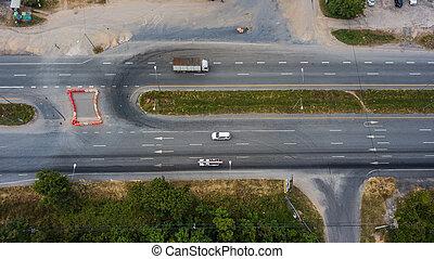 aerial udsigt, i, den, vej