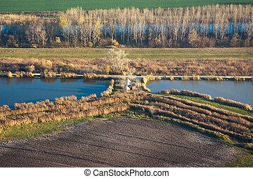 aerial udsigt, i, efterår, sø