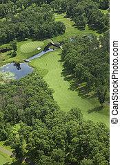 aerial udsigt, i, en, golf kurs