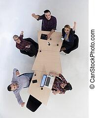 aerial udsigt, i, folk branche, gruppe, på, møde