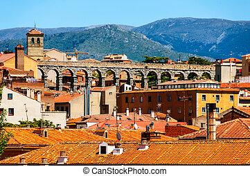 aerial udsigt, i, gammel by, segovia, spanien