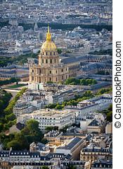 aerial udsigt, i, guld kuppel, i, les invalides, paris, frankrig
