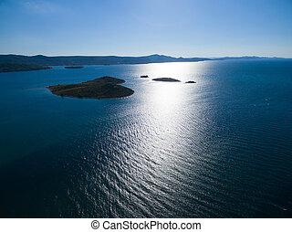 aerial udsigt, i, hjertet, formet, galesnjak, ø, på, den, adriaterhavet, coast.