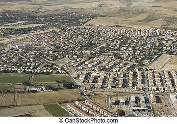 aerial udsigt, i, huse udvikling