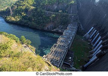 aerial udsigt, i, hydroelektrisk magt plant