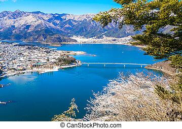 aerial udsigt, i, kawaguchiko, sø