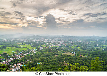 aerial udsigt, i, lille by