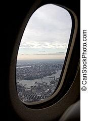 aerial udsigt, i, manhattan