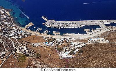 aerial udsigt, i, mykonos ø