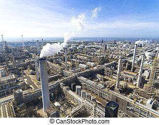 aerial udsigt, i, olie raffinaderi