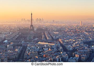 aerial udsigt, i, paris, hos, solnedgang