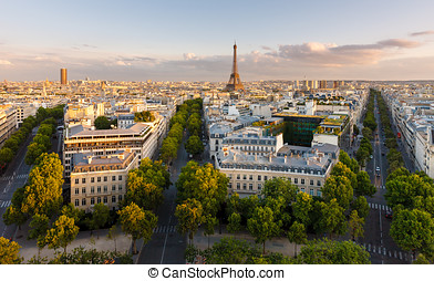 aerial udsigt, i, paris, og, eiffel tårn