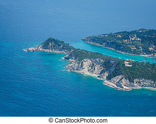 aerial udsigt, i, paxos, ø