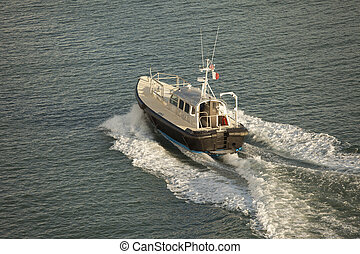aerial udsigt, i, pilot, båd