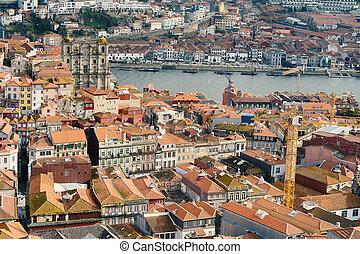 aerial udsigt, i, porto, portugal.