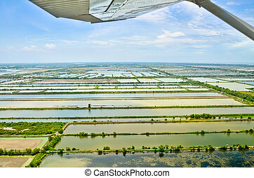 aerial udsigt, i, ris felt, terasser, ind, thailand