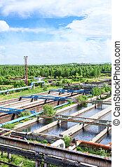 aerial udsigt, i, sekundære, affald, behandling vand, systemer, hos, aerobic, biologiske, processer