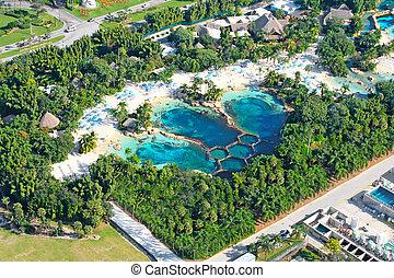 aerial udsigt, i, svømmebassinet