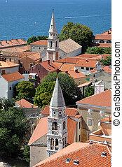 aerial udsigt, i, zadar, croatia