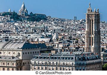 aerial udsigt, paris, cityscape, frankrig
