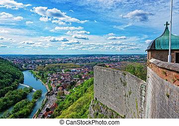 Aerial veiw and citadel in Besancon Bourgogne Franche Comte...