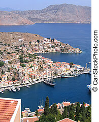 Aerial veiw on harbor of the Greek city