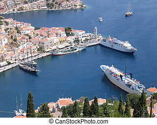 Aerial veiw on harbor of the Greek city - Aerial veiw on the...
