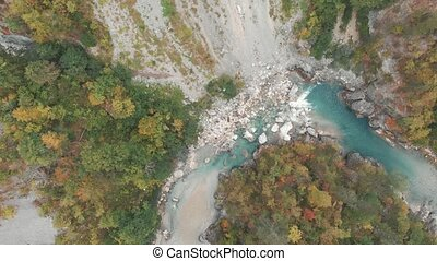 Aerial Vertical View Over The Surface Of A Mountain River