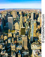 Aerial vertical view over upper Manhattan