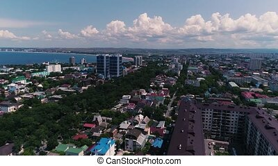 Aerial Video. Biggest City On The Black Sea Coast. The resort town of Anapa.
