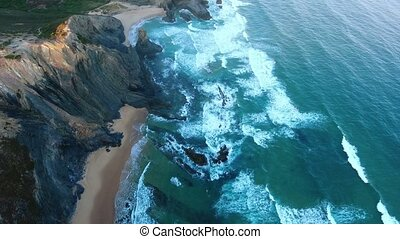 Aerial. Video capture drone shores Costa Vicentina, Sagres....
