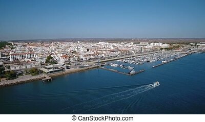 Aerial. Video from sky river Guadiana village Vila Real...