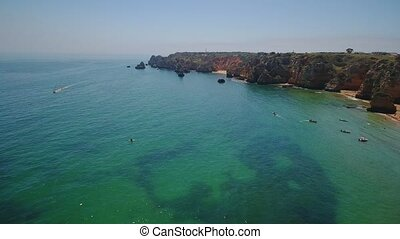 Aerial. Video from the sky of the Portuguese beaches of the city of Lagos. Algarve.