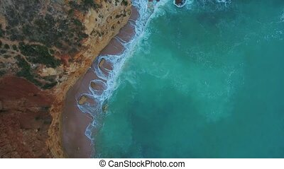 Aerial. Video from the sky of the Portuguese cliffs of the...