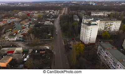 Aerial video of a small industrial town