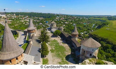 Aerial video of castle, fortress in Ukraine