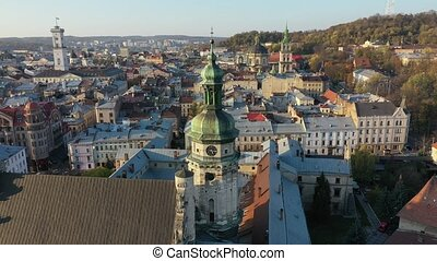 Aerial video of Church in central part of old city of Lviv, Ukraine