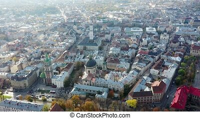 Aerial video of Dominican Churchin in central part of old city of Lviv, Ukraine