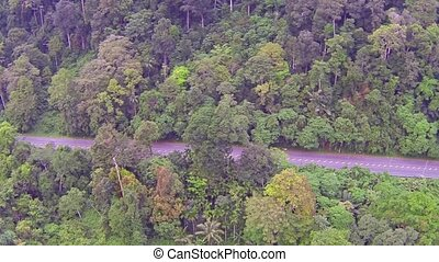 Aerial video of jungle road, Thailand clip