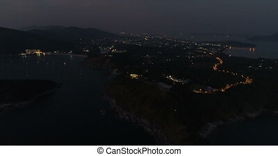 Aerial video of Phuket island with near Promthep Cape after sunset