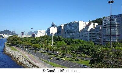 Aerial video of Rio de Janeiro City and Botafogo Bay -...