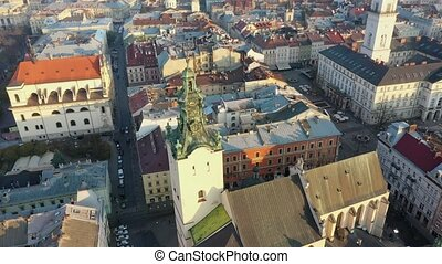 Aerial video of Saint Maria Church in central part of old city of Lviv, Ukraine