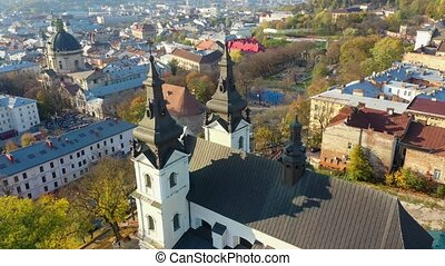 Aerial video of Saint Mikhail Church in in central part of old city of Lviv, Ukraine