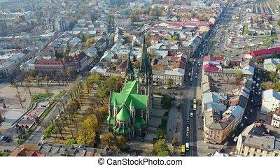 Aerial video of Saint Olga and Elizaveta Church in central part of old city of Lviv, Ukraine