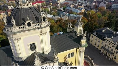 Aerial video of Saint Yura Church in central part of old city of Lviv, Ukraine