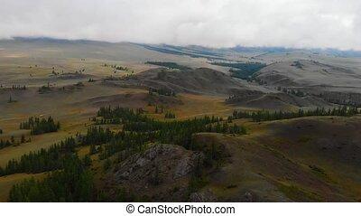 Aerial video of the Kurai steppe between the Kurai and the...